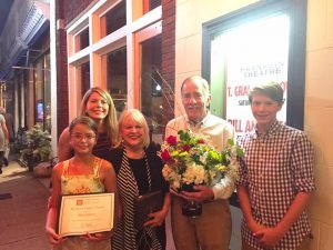 Business Legacy Award winner Mary Pearce with her husband Harris, daughter Holly, and grandchildren Andrew and Evie after the ceremony at the Franklin Theatre.